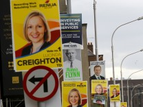 Campaign posters hang from lampposts in Dublin