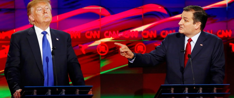 Republican U.S. presidential candidate Cruz challenges rival Trump about releasing his tax returns during the debate sponsored by CNN for the 2016 Republican U.S. presidential candidates in Houston
