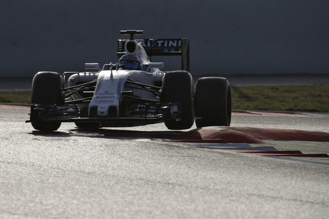 Williams Formula One driver Bottas of Finland takes a curve with his car during the second testing session ahead of the upcoming season at the Circuit Barcelona-Catalunya in Montmelo
