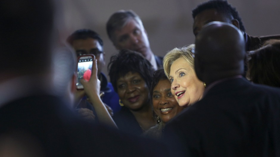 File photo of Democratic U.S. presidential candidate Hillary Clinton greeting supporters after a forum at Denmark-Olar Elementary School in South Carolina