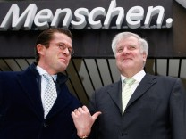 Bavarian state premier  Seehofer  and general secretary of Bavaria's Christian Social Union (CSU) Karl-Theodor zu Guttenberg  in Munich