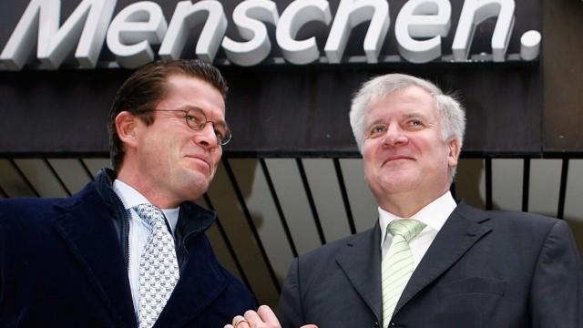 Bavarian state premier  Seehofer  and general secretary of Bavaria's Christian Social Union (CSU) Karl-Theodor zu Guttenberg  in Munich