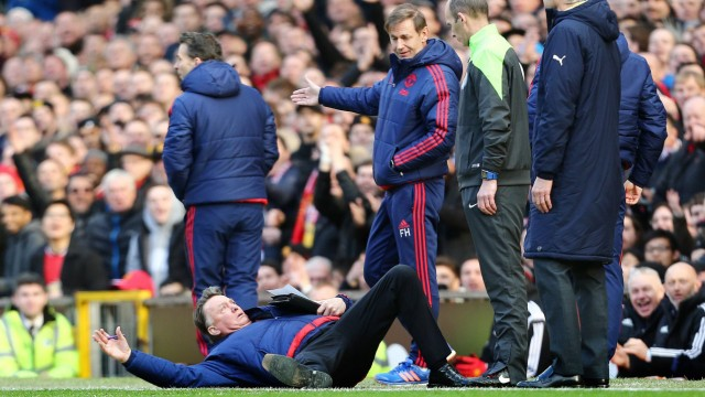 Manchester United ManU manager Louis van Gaal gestures to dive during the Barclays Premier league m
