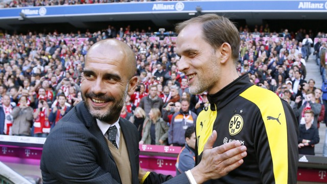 GUARDIOLA Pep Trainer Team FC Bayern Muenchen mit Trainer TUCHEL Thomas DFL Fussball Bundesliga Sais