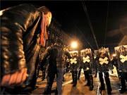Konfrontation zwischen Demonstranten und Ordnungskräften in Budapest am 15.3.08, AP