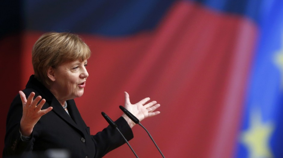 German Chancellor and leader of the CDU Merkel delivers her speech during the CDU party congress in Karlsruhe