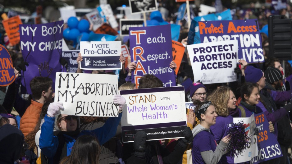 Rally in support of legal access to abortion and to protect the decision in Roe v. Wade