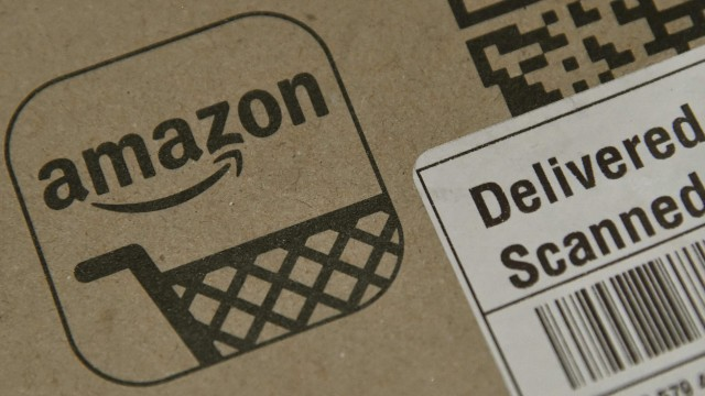 An Amazon package is seen after being delivered in London