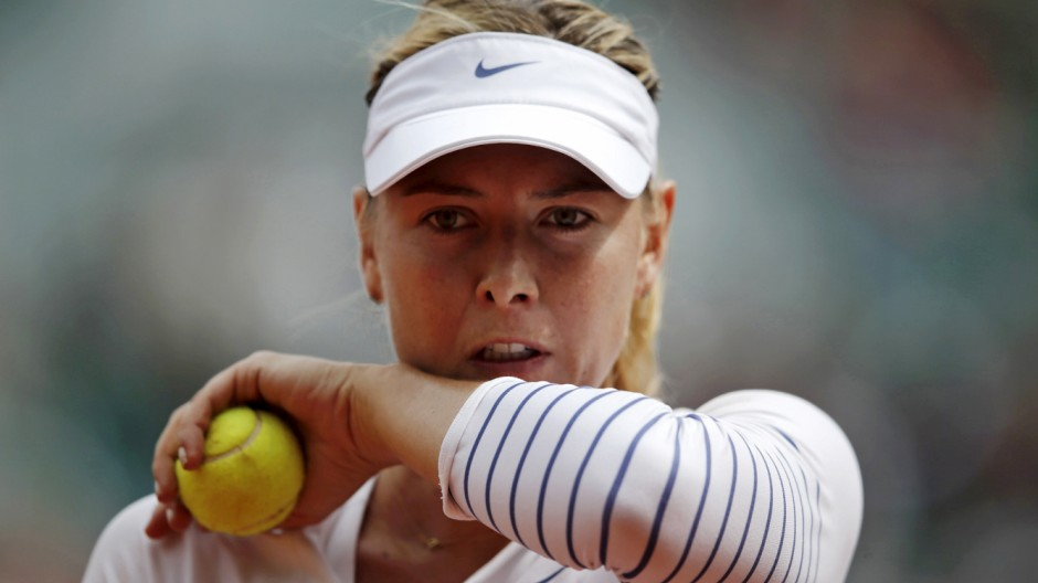 File picture of Maria Sharapova of Russia during her women's singles match at the French Open tennis tournament in Paris