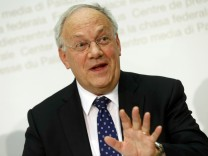 Swiss President Schneider-Ammann attends a news conference after the weekly meeting of the Federal Council in Bern