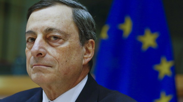 File photo of European Central Bank President Draghi testifying before the European Parliament's Economic and Monetary Affairs Committee in Brussels