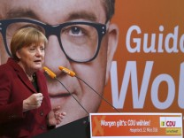 Merkel German Chancellor and leader of  CDU party addresses election campaign rally in Haigerloch