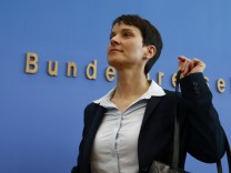 Petry, chairwoman of the anti-immigration party Alternative for Germany (AfD) arrives for a news conference in Berlin