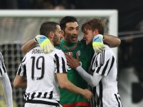 March 11 2016 Turin Italy Juventus goalkeeper Gianluigi Buffon 1 celebrates with Juventus de