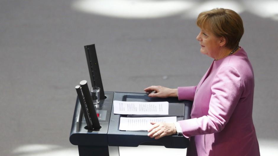 German Chancellor Merkel addresses Bundestag in Berlin