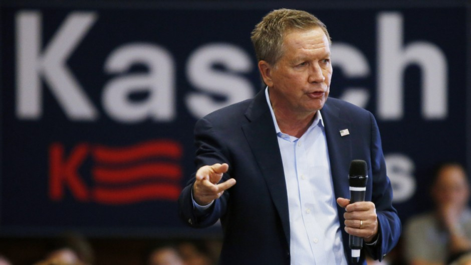 Ohio Governor and Republican presidential candidate John Kasich speaks at a town hall event at Villanova University in Villanova