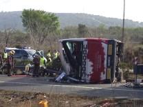 Das Busunglück ereignete sich auf der Autobahn AP7 bei Freginals (zwischen Valencia and Barcelona).