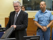 File photo of Bosnian Serb wartime leader Karadzic at the ICTY in The Hague
