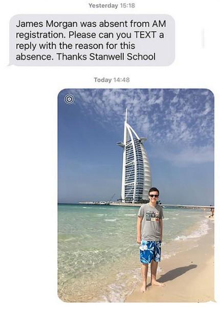 Britischer Schüler schwänzt die Schule und fährt in den Urlaub.