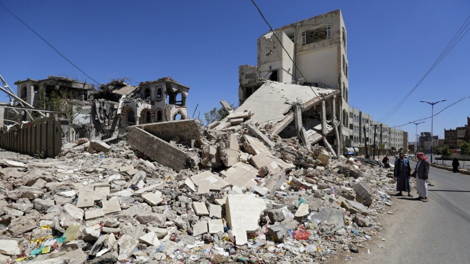 Rubble in Sana'a
