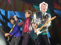 Keith Richards, Mick Jagger and Ronnie Wood of the Rolling Stones perform a free outdoor concert at Ciudad Deportiva de la Habana sports complex in Havana