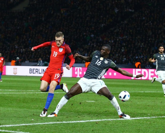 Jamie Vardy of England scores a goal to make it 2 2 sequence 2 of 3 during the International Frien; vardy