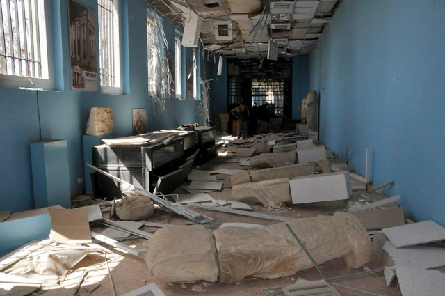 A view shows damaged artefacts inside the museum of the historic city of Palmyra, after forces loyal to Syria's President Bashar al-Assad recaptured the city