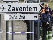 Belgian police officers and soldiers control the access to Belgian international airport of Zaventem airport more than a week after the attacks in Brussels metro and the airport, in Zaventem