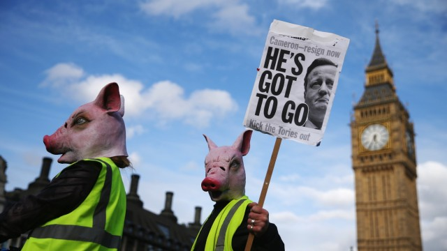 Tax Loophole Protest Held Outside Downing Street After Panama Revelations