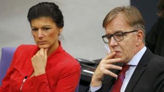 eft-wing Die Linke party members Wagenknecht and Bartsch addresses Bundestag session in Berlin