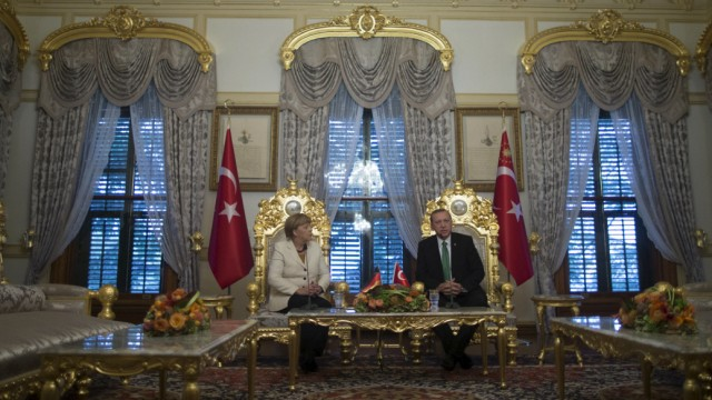German Chancellor Angela Merkel meets with Turkish President Erdogan  in Istanbul, Turkey