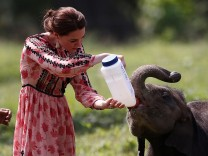 Britain's Catherine, Duchess of Cambridge, feeds a baby elephant at the CWRC at Panbari reserve forest in Kaziranga