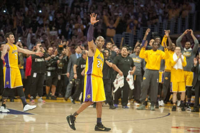 April 13 2016 Los Angeles The Lakers Kobe Bryant acknowledges the crowd following his final gam