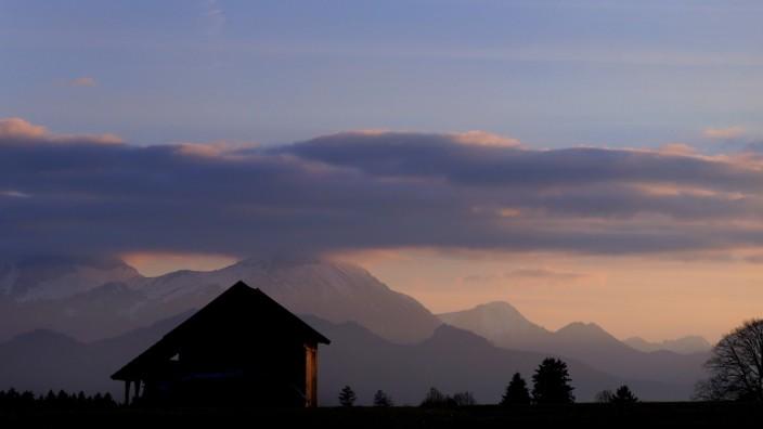 Abendstimmung in den Alpen im Allgäu