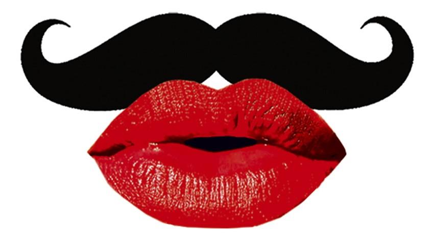 Collage Mund mit Schnurrbart