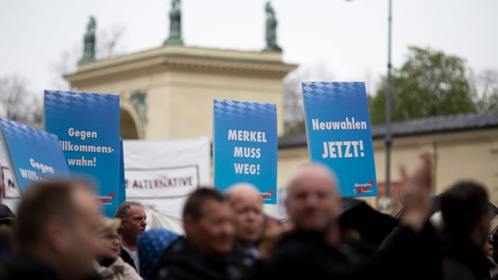 April 16 2016 The right wing party AfD held a rally on Odeonsplatz Munich today Party functionar