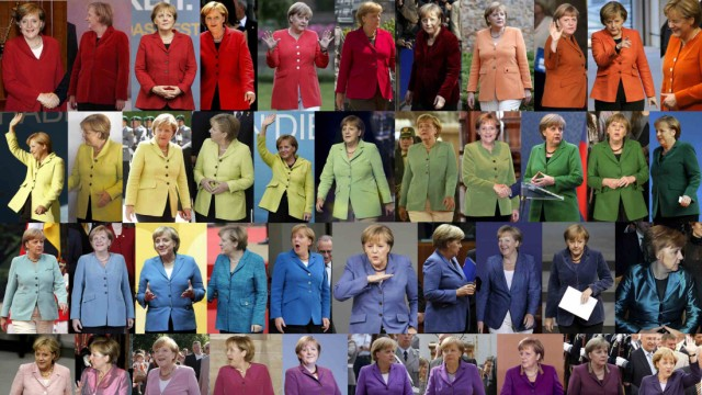 Combination picture shows German Chancellor Merkel wearing jackets of differing colours while attending various public events