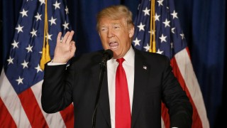 Republican U.S. presidential candidate Donald Trump delivers a foreign policy speech at the Mayflower Hotel in Washington