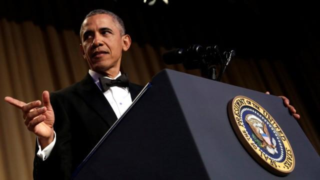 U.S. President Barack Obama speaks at the White House Correspondents' Association annual dinner in Washington