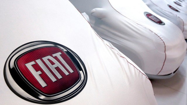 Fiat cars under covers are seen at a dealership in Rome