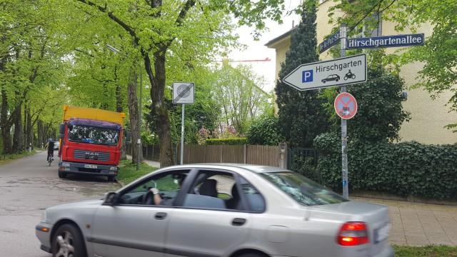 Ecke Hirschgarten Allee /De-la-Paz-Straße