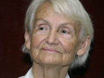 File photo of Margot Honecker clapping her hands during her visit at Nicaraguan-German Hospital in Managua