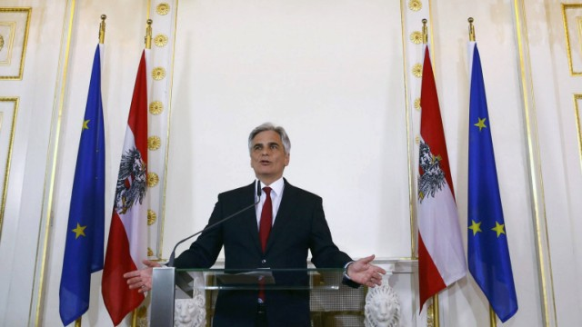 Austrian Chancellor Faymann addresses a news conference in Vienna