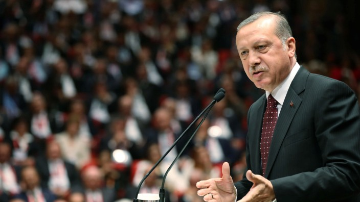 Turkish President Tayyip Erdogan makes a speech at a meeting of the Union of Chambers and Commodity Exchanges of Turkey (TOBB) in Ankara
