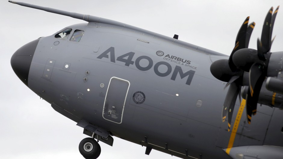 An Airbus A400M aircraft takes part in a flying display at the Royal International Air Tattoo at RAF Fairford