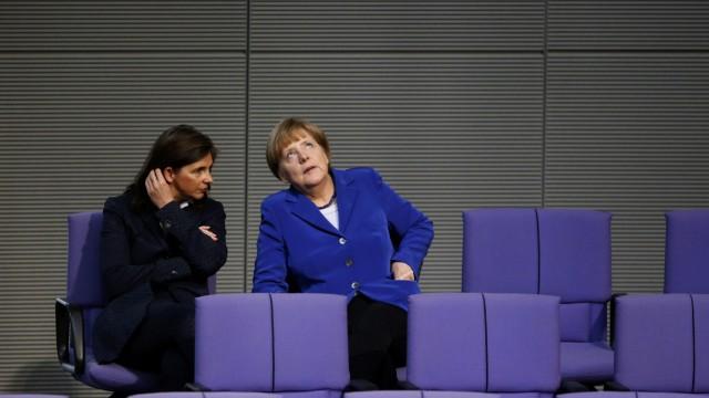 German Chancellor Merkel talks to Goering-Eckardt the German lower house of Parliament Bundestag in Berlin