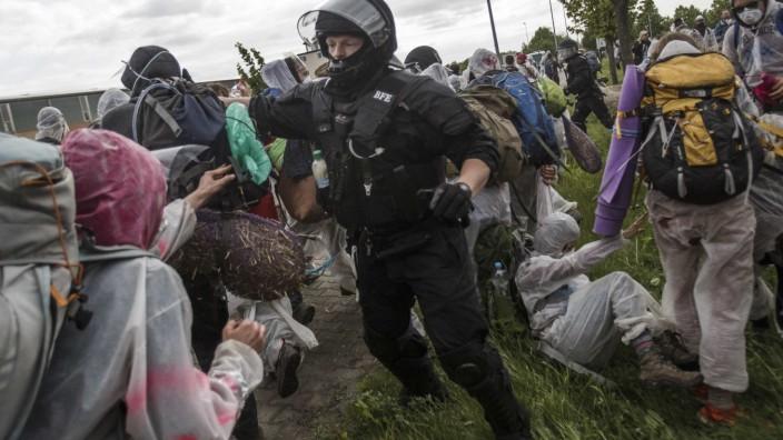 Activists Protest Coal Energy At Welzow Mine