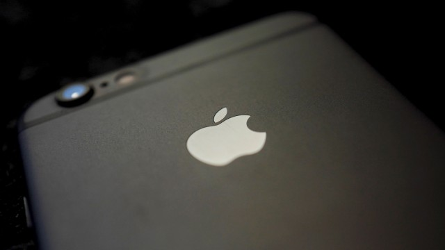 Details are pictured on the back of an Apple Iphone 6 on a table in a restaurant in Hanau