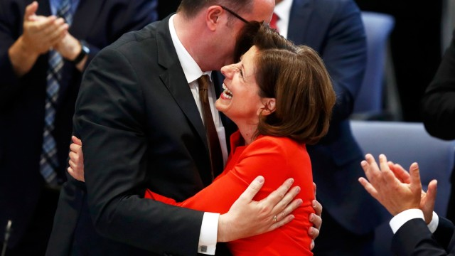 Dreyer of SPD is congratulated on being elected as Prime Minister of Rhineland-Palatinate during a parliament session in Mainz