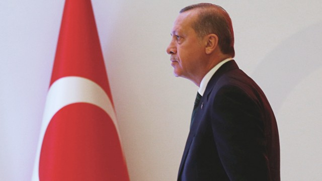 Turkish President Erdogan arrives for a conference in Istanbul